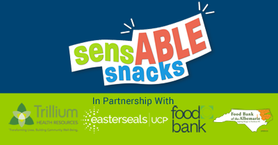 logos from companies on blue and green background for sensable snacks program