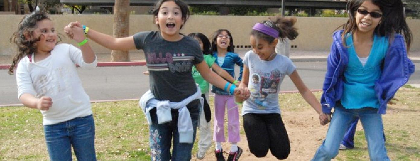 After School Banner Girls Jumping