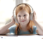 Child with headphones on