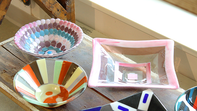 Group of fused glass dishes
