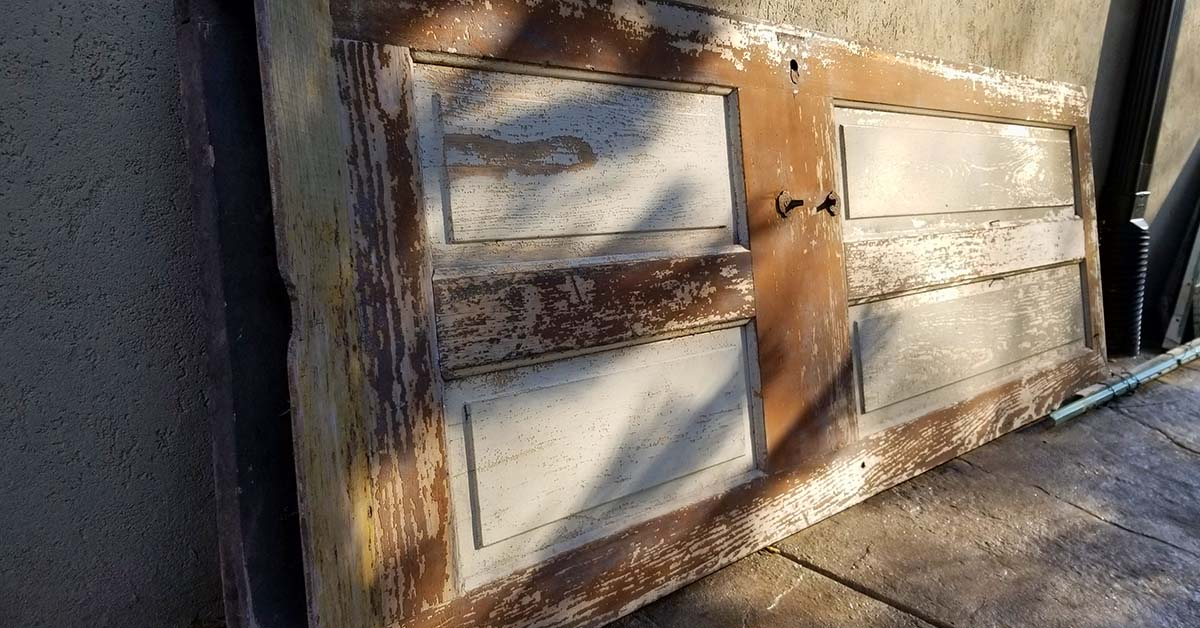 An old door awaiting new life for a future project.