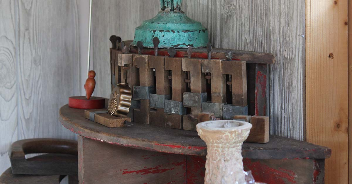These old clamps were found tucked away in an old stove. They have become a decorative accent inside the Cottage.