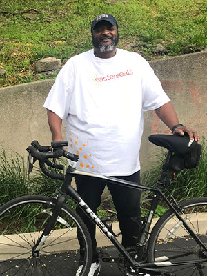 Chris Macklin of Easterseals Military & Veteran Services on his bike