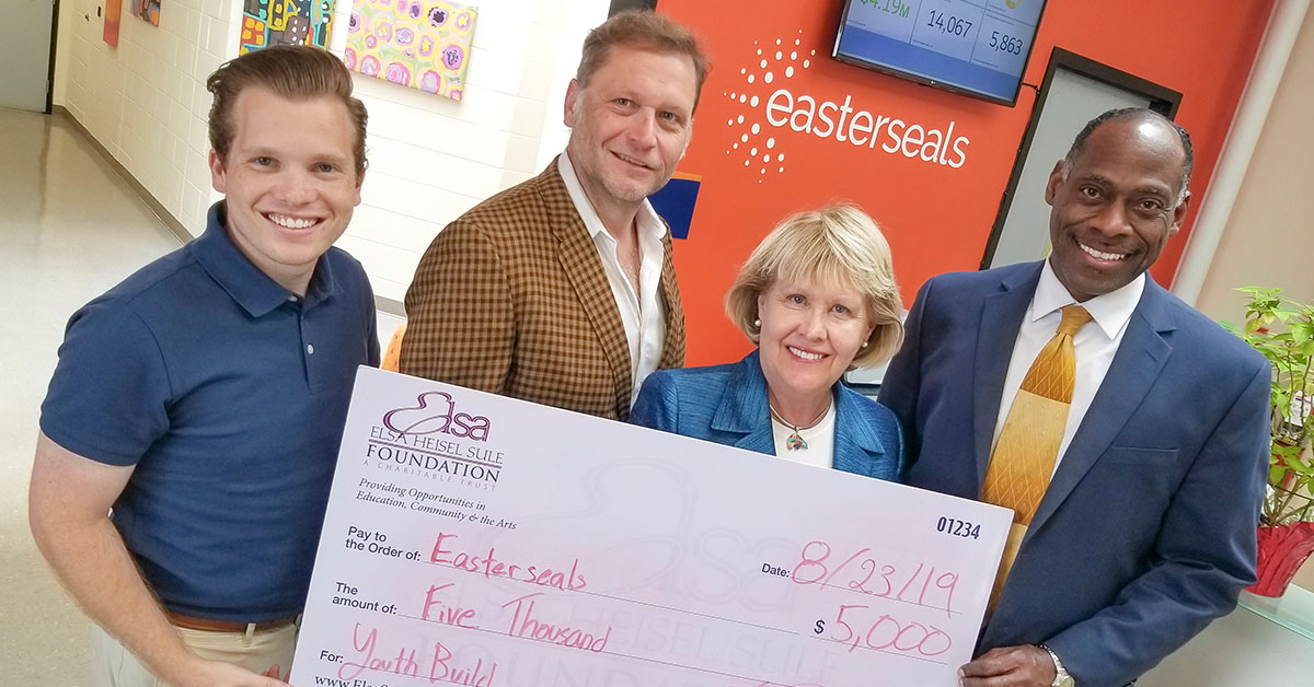 Jordan Klette-Cusher, Program Officer with the Elsa Heisel Sule Foundation, David Drieth, Chief Operating Officer with Easterseals Serving Greater Cincinnati, Ruth Klette, Trustee & CEO of the Elsa Heisel Sule Foundation, and James Harris, Program Manager of Easterseals YouthBuild