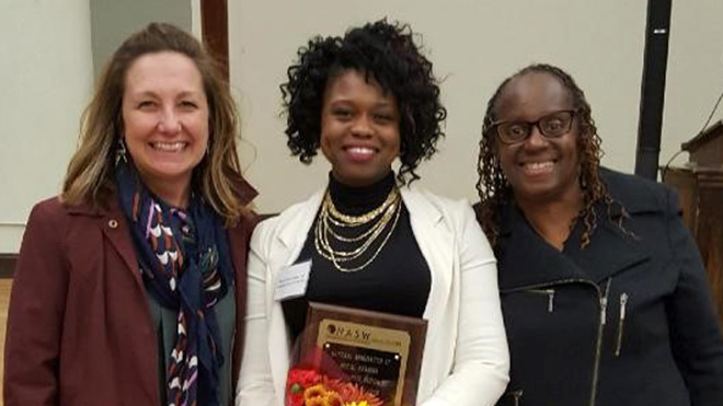 Brandi Lewis (center) was named the 2019 Emerging Leader by the National Association of Social Workers Ohio Chapter Region 6. She was accompanied by Pam Green (left), President & CEO of Easterseals Serving Greater Cincinnati, and Donna Lindsay-Thomas (right), Workforce Devementment Specialist with Easterseals Prosperity for All.