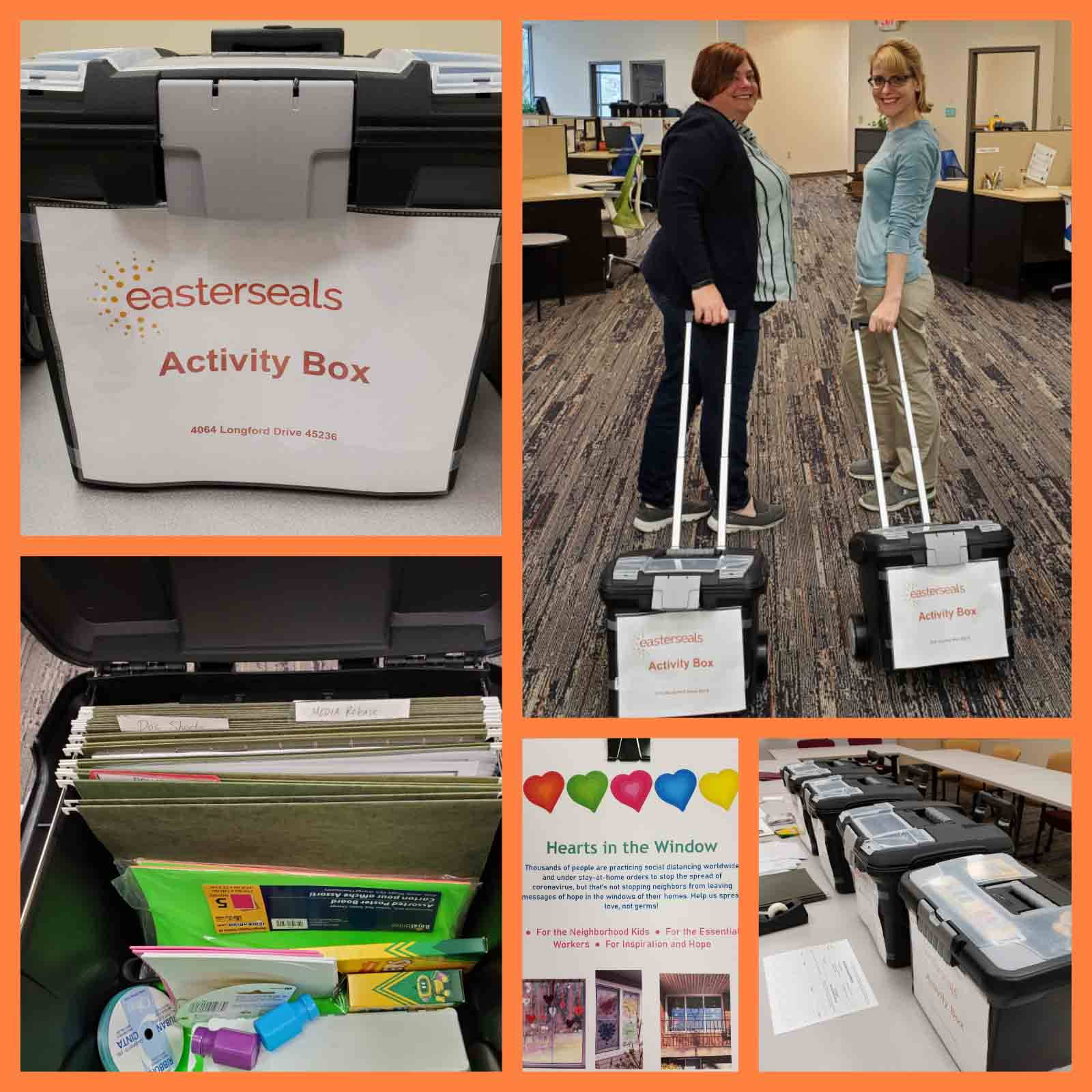 Chrissy Perkins and Christina Albert are deploying activity boxes to our Easterseals staff in the field who are providing these critical supports - so that our friends are not just healthier at home, but HAPPIER at home, too.