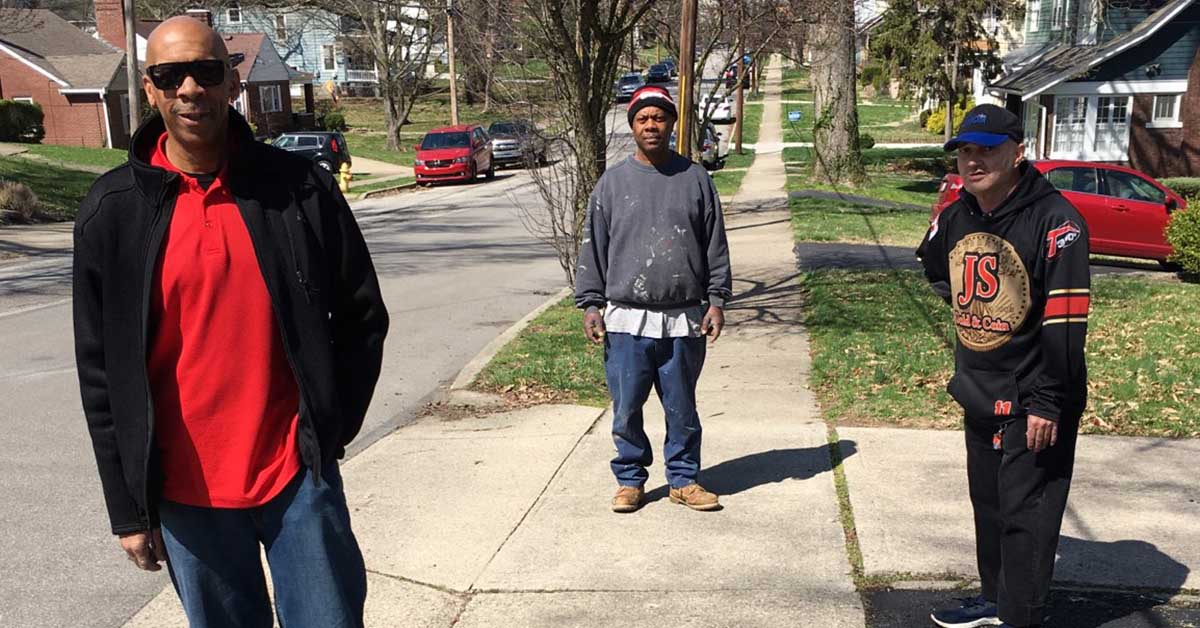 Easterseals employee Mark Jackson had a great day with Milton and Scott in the sunshine, while also teaching them about keeping a safe social distance.