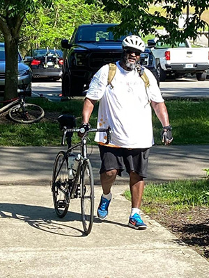 Chris Macklin with Easterseals Military & Veteran Services rode his bike 22 miles on the Loveland Bike Trail to pay tribute to America's veterans on Memorial Day.
