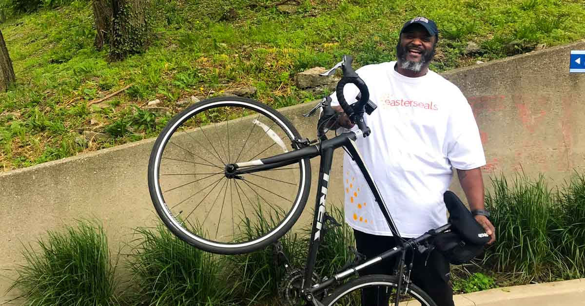 Chris Macklin of Easterseals Military & Veteran Services with his bike
