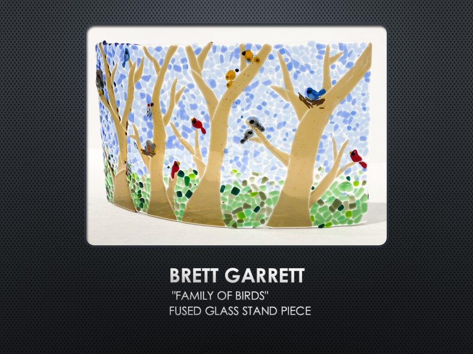 Family of Birds, fused glass by Brett Garrett