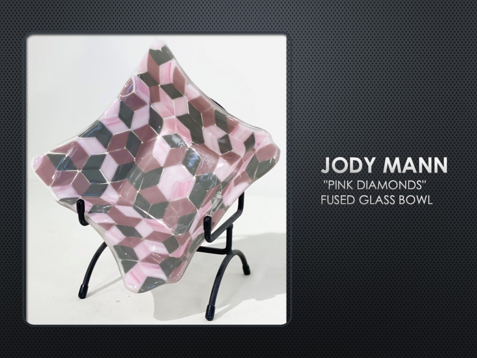 Pink Diamonds, fused glass bowl by Jody Mann