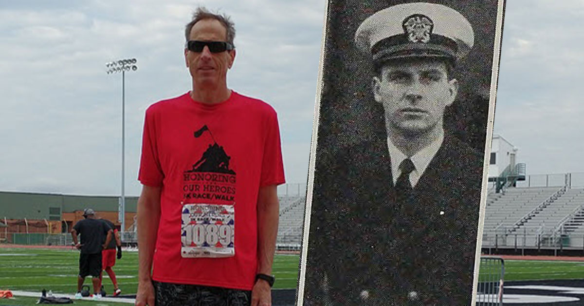 Jim Grafe ran in the virtual Kroger Honoring Our Heroes 5K in honor of his father, who was a Navy ensign.