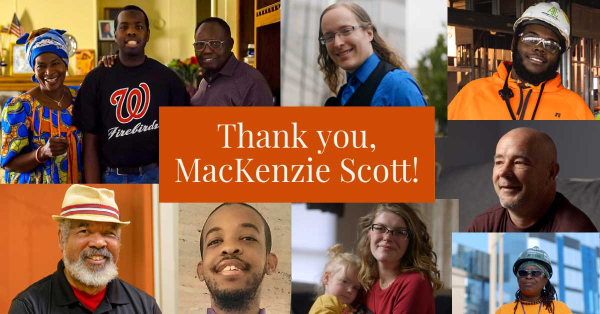 A collage of photos with text:  Thank You, MacKenzie Scott