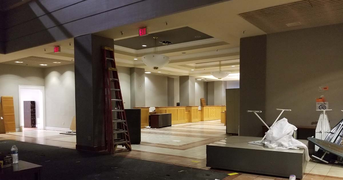 The once busy lobby is now dark.