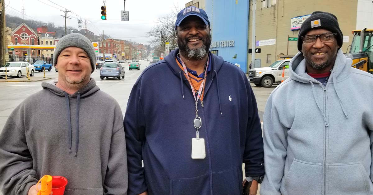 Mickey Harlow (left) and Anthony Pennington (right) are veterans who shared their transportation challenges with WCPO-TV. Chris Macklin, center, a job developer with Easterseals says nearly a third of the veteran calls to Easterseals received in 2019 were tied to transportation.
