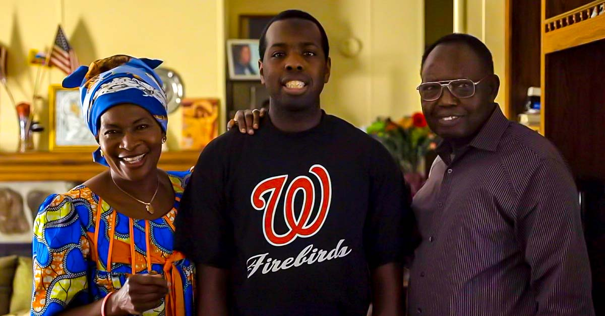 Nathan Tshiboyi with his mother, Therese, and his father, Augustin.
