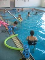 Water aerobics class at the Easterseals Rehabilitation Center therapeutic pool
