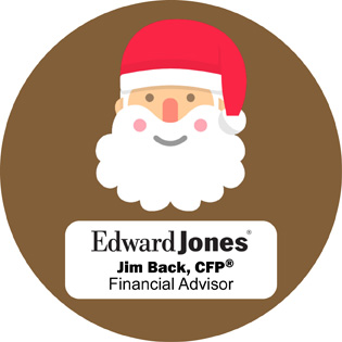 """Photos with Santa"" sponsored by Jim Back logo"
