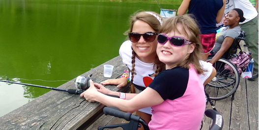 Two girls fishing at camp