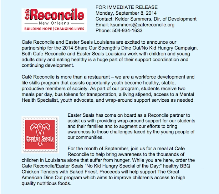 Dine Out with Cafe Reconcile and Easter Seals Louisians for the No Kid Hungry campaign!