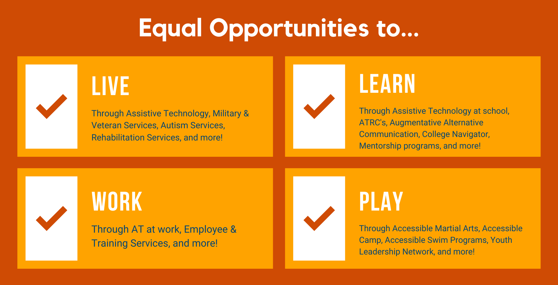 equal Opportunities to live, learn, work, and play!