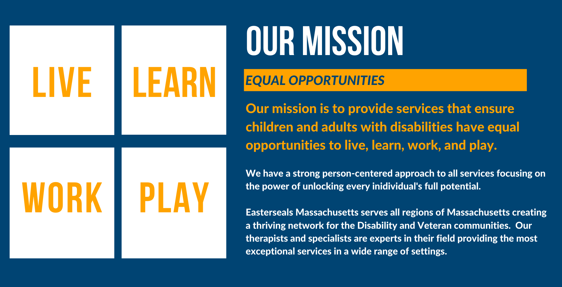 Our mission is to provide services that ensure children and adults with disabilities have equal opportunities to live, learn, work, and play.