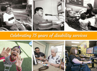 collage of different aged clients from the 80s and modern day Easterseals programs recieving services