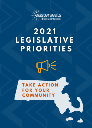 esma 2021 legislative priorities. A graphic of a megaphone sits above a silhouette of Massachusetts with the words