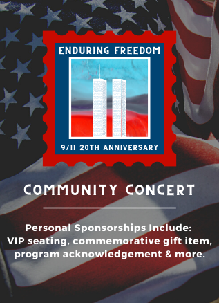 Enduring Freedom Community Concert. A close-up of the American flag is in the background, with a graphic of the twin towers in the middle.