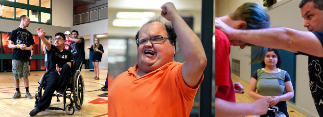three photos of people with disabilities participating in accessible martial arts classes doing stretches & defense moves