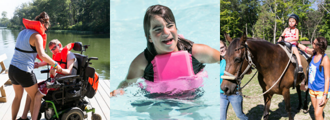 3 images: one of a person in a wheelchair wearing a lifejacket, one shows a girl with a disability swimming, and another with someone with a disability riding a horse
