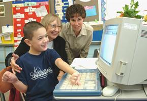 Sam with Pam Kaufman and Jeanne Mahanna