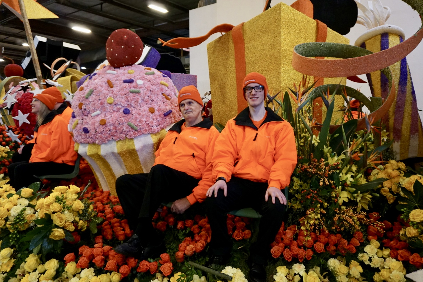 Matthew Jameson with another Easterseals client on the Rose Parade float
