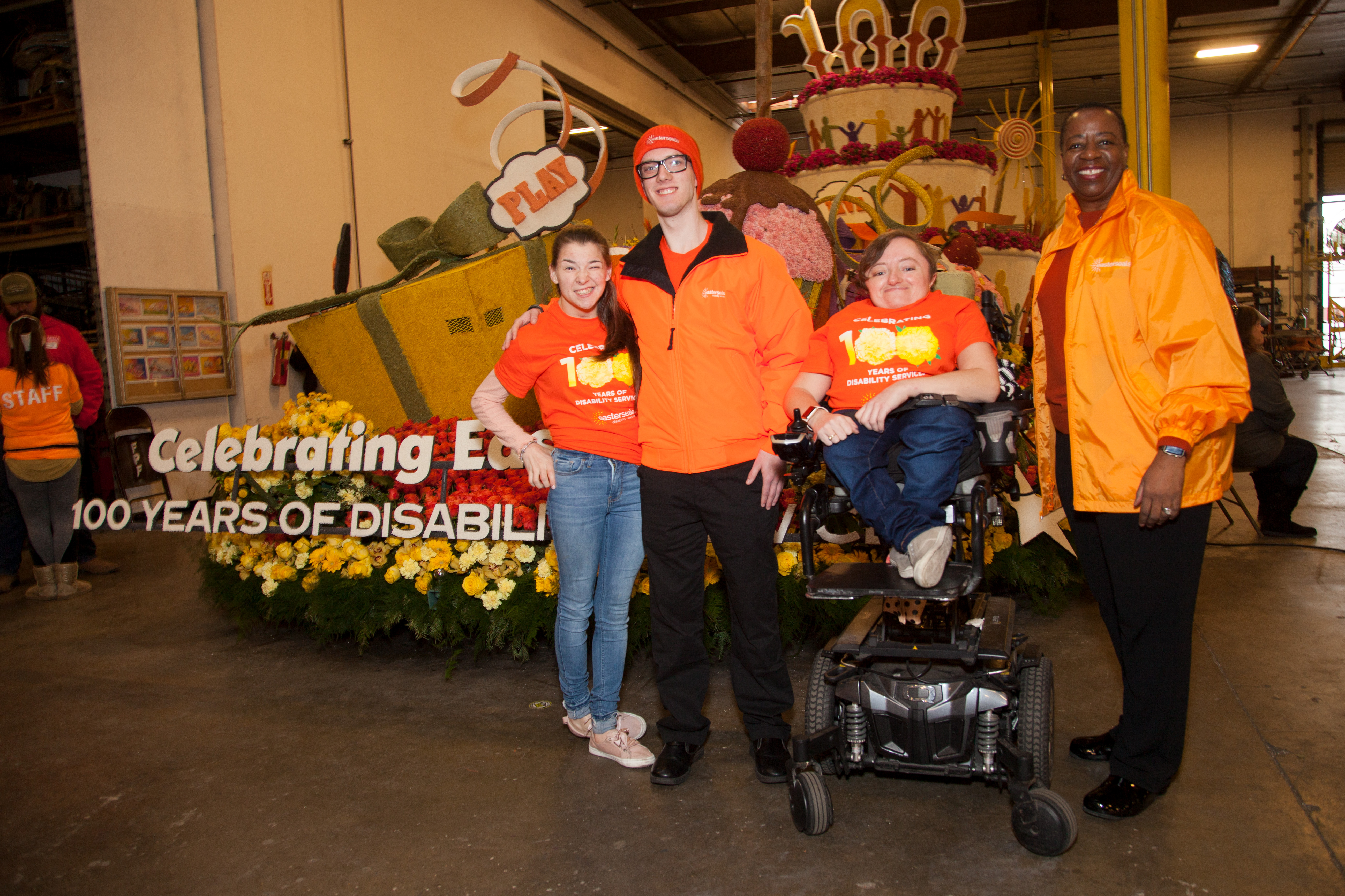Matthew, his girlfriend, Desi Forte, and Easterseals national C E O Angela Williams