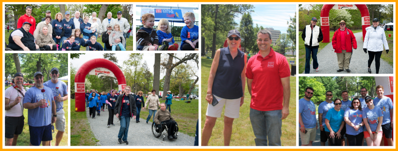 Collage of images from Walk with Me Worcester, including people posing and smiling, kids laughing, Ann and Paul smiling, people at the starting/finish line