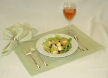 Salad with a glass of wine