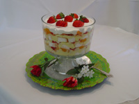 Trifle in glass bowl