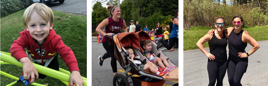 Collage of photos: a young boy, a woman running with two children in a stroller, two women runners