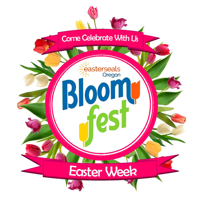 """Come Celebrate With Us"" Easterseals Oregon Bloomfest poster - event occurs all of Easter week"
