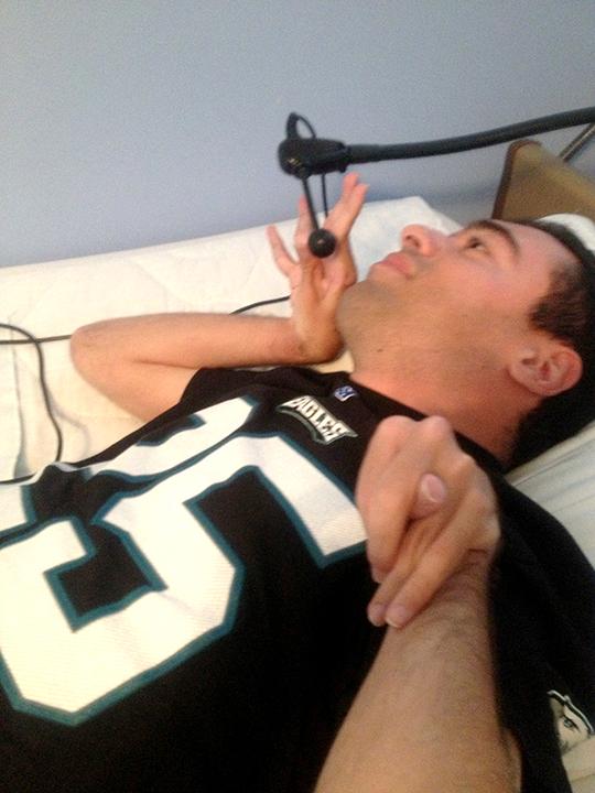 man using assistive technology