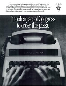 ADA 1990 poster order pizza