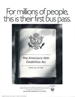 ADA 1990 poster with bus pass