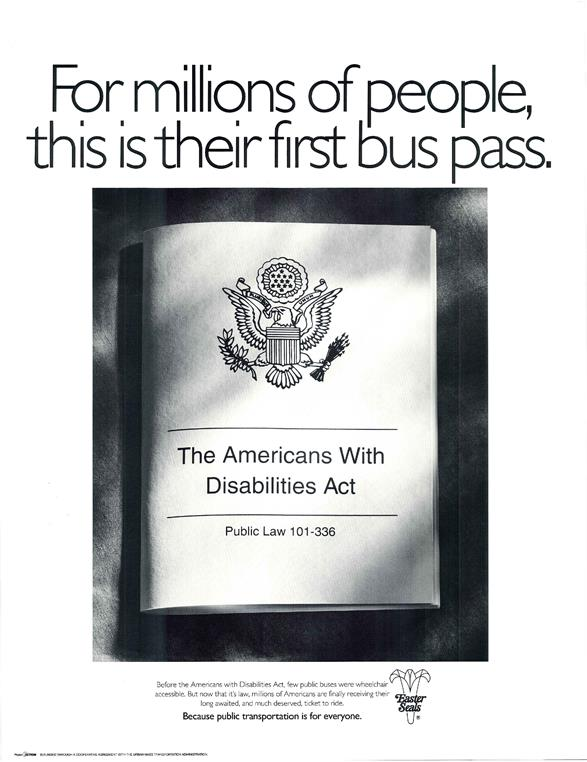 ADA poster about bus pass for pwd