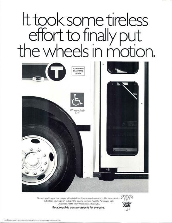 ADA poster from 1990 on accessible buses