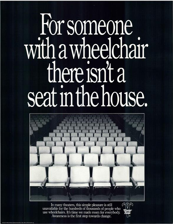 ADA poster from 1990 on movie theater accessibility