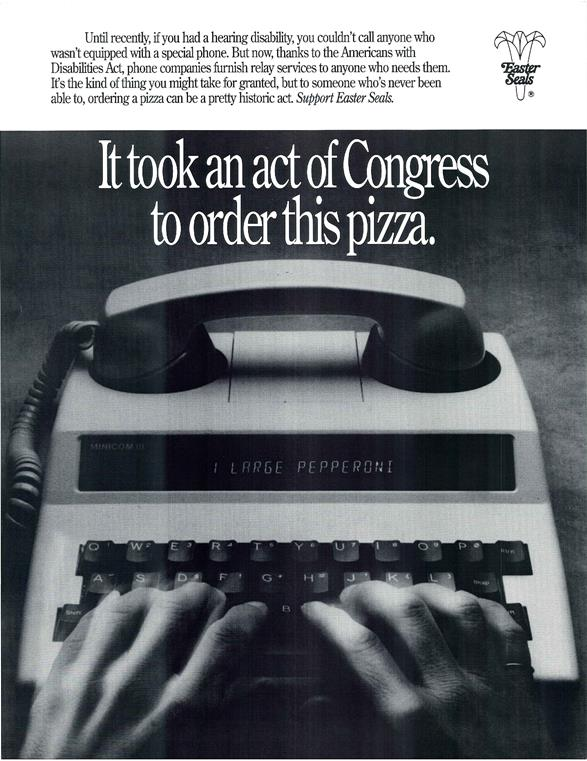 ADA poster from 1990 on ordering pizza by phone