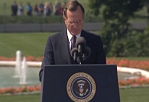 President Bush making a speech during the signing of the ADA