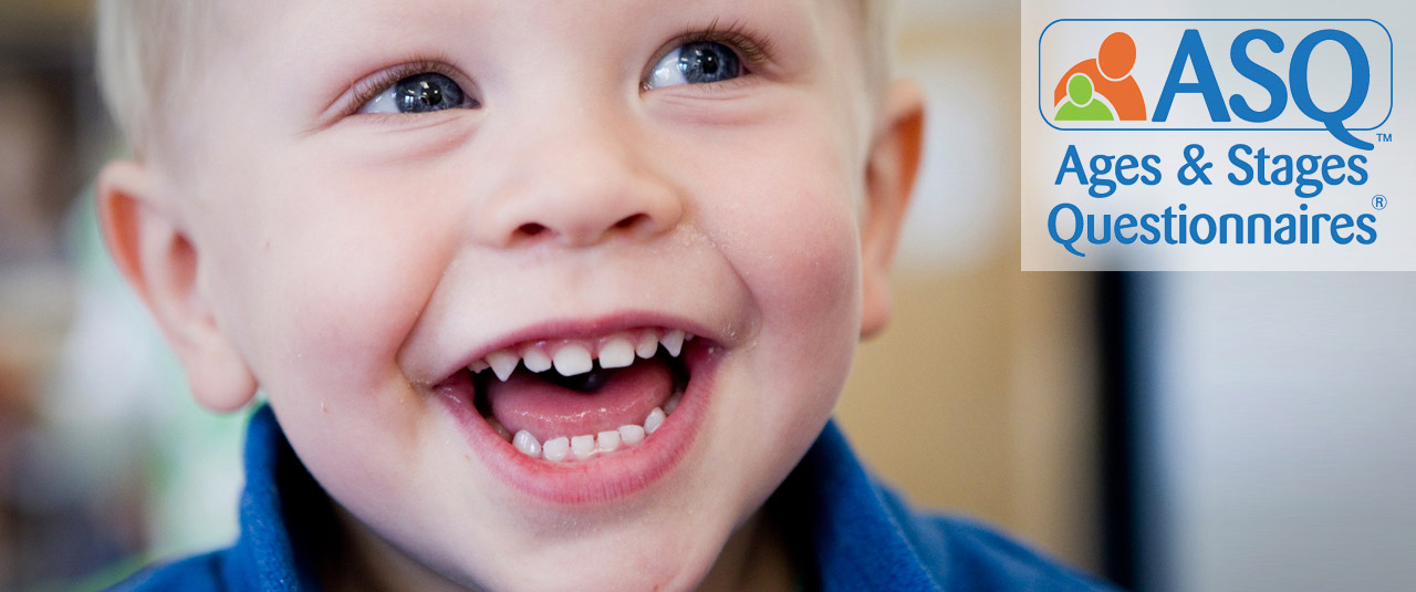 smiling boy with text ASQ: Ages & Stages Questionnaires