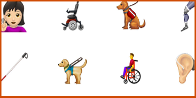 a collection of emoji images, including a service dog and walking cane