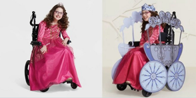 An ad showing a young girl in a princess costume, with her wheelchair outfitted as the carriage